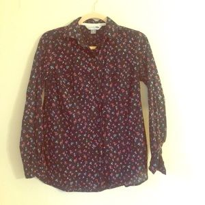 Old Navy Black Floral Classic Button Down Shirt XS
